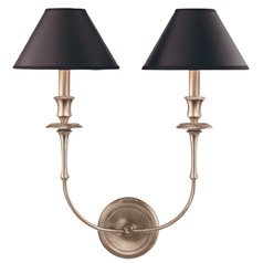 Sconce Wall Light with Black Paper Shades in Antique Nickel Finish