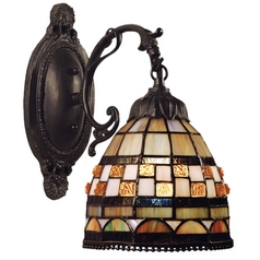 Sconce with Tiffany Glass in Classic Bronze Finish