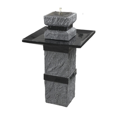LED Outdoor Fountain in Dark Stone Finish