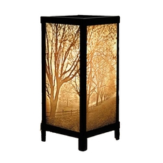 Misty Meadow Porcelain Lithophane Accent Table Lamp