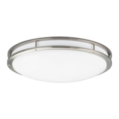 Modern Flushmount Light with White in Brushed Nickel Finish