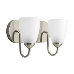 Progress Lighting Progress Bathroom Light with White Glass in Brushed Nickel Finish P2707-09
