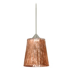 Besa Lighting Nico Satin Nickel Mini-Pendant Light with Fluted Shade