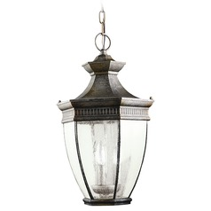 Kichler Outdoor Hanging Light with Clear Glass in Bronze Finish