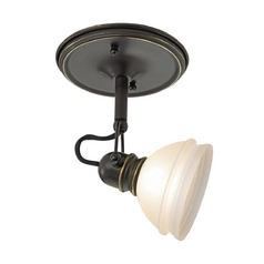 Sea Gull Lighting Directional Spot Light with White Glass in Antique Bronze / Dusted Ivory Finish 94883-71