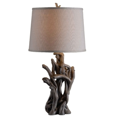 Table Lamp with White Shade in Driftwood Finish