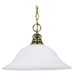 Pendant Light with Alabaster Glass in Polished Brass Finish