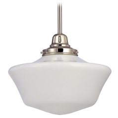 12-Inch Schoolhouse Pendant Light in Polished Nickel Finish