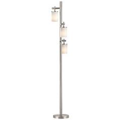 Satin Nickel SODO Floor Lamp with White Scallop Glass Shade