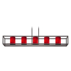 Red Art Glass Linear Chandelier 5-Lights in Bronze