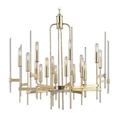 Mid-Century Modern Chandelier Brass Bari by Hudson Valley Lighting
