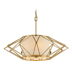 Troy Lighting Calliope Rustic Gold Leaf Pendant Light with Drum Shade