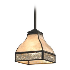 Tan Mica Mercury Glass Square Mini-Pendant Light Bronze Elk Lighting