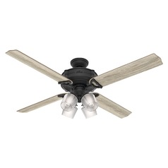 Hunter 60-Inch Natural Iron LED Ceiling Fan with Light with Hand Held Remote