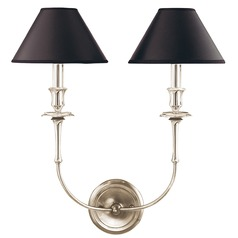 Sconce Wall Light with Black Paper Shades in Polished Nickel Finish