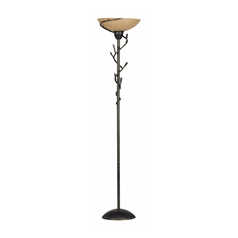 Torchiere Lamp with Amber Glass in Bronze Finish