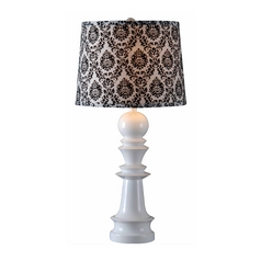 Table Lamp with Black Shade in Gloss White Finish