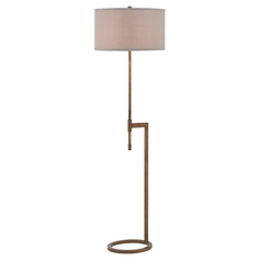 Modern Floor Lamp with Pewter Shade in Remington Bronze Finish