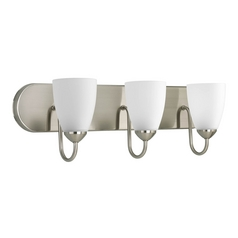 Progress Lighting Progress Bathroom Light with White Glass in Brushed Nickel Finish P2708-09
