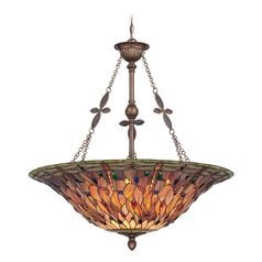 Pendant Light with Multi-Color Glass in Malaga Finish