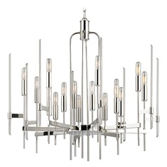 Mid-Century Modern Chandelier Polished Nickel Bari by Hudson Valley Lighting