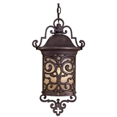 Outdoor Hanging Light with Beige / Cream Glass in Chelesa Bronze Finish