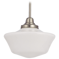 Design Classics Lighting 12-Inch Schoolhouse Pendant Light in Satin Nickel Finish FB4-09 / GA12