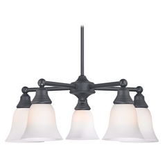 Chandelier with White Glass in Matte Black Finish