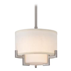 Modern Satin Nickel Mini-Pendant Light with White Glass