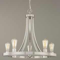Industrial Chandelier Satin Nickel 5-lights