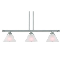 Livex Lighting Wynnewood Hand Applied Brushed Silver Island Light with Bell Shade