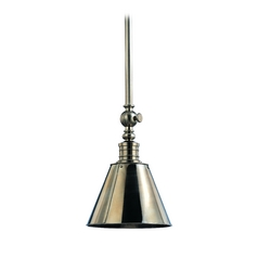 Modern Pendant Light with White Glass in Historic Nickel Finish