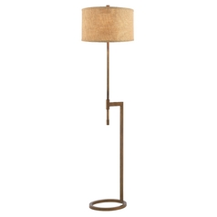 Modern Floor Lamp with Linen Weave Shade in Remington Bronze Finish