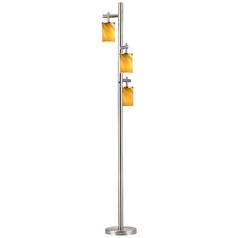 SODO Satin Nickel Floor Lamp with Butterscotch Cylindrical Art Glass Shade