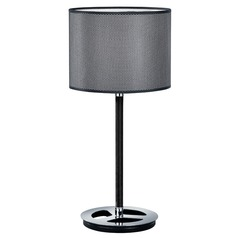 Arnsberg Stratos Black and Chrome Console & Buffet Lamp with Drum Shade