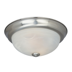 Flushmount Light with Alabaster Glass in Satin Platinum Finish