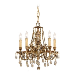 Crystorama Lighting Crystal Mini-Chandelier in Olde Brass Finish 2805-OB-GT-MWP