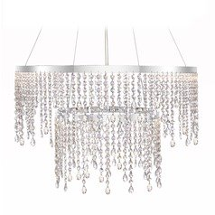 Modern Crystal LED Pendant Light Polished Chrome Platinum Collection Borderline by Quoizel