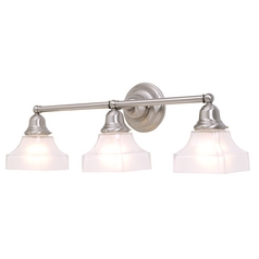 Craftsman Style 3-Light Vanity Light Satin Nickel with Square Glass