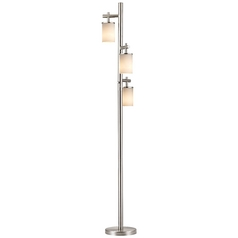 Satin Nickel SODO Floor Lamp with Shiny Opal White Glass Shade