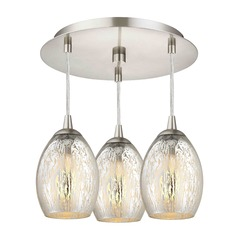 3-Light Semi-Flush Light with Mercury Oblong Glass - Nickel Finish