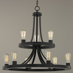 Round Chandelier Bronze 9-Lt 2-Tier
