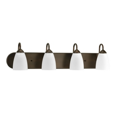 Progress Lighting Progress Bathroom Light with White Glass in Antique Bronze Finish P2709-20