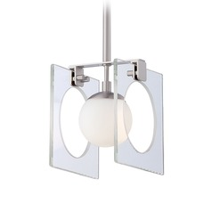 George Kovacs Hole-In-One Brushed Nickel Mini-Pendant Light with Globe Shade