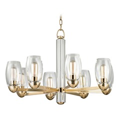Modern Chandelier Brass Pamelia by Hudson Valley Lighting