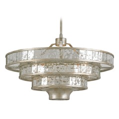 Currey and Company Lighting Frapp Silver Granello / Raj Mirror Pendant Light with Drum Shade
