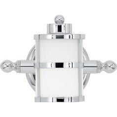 Modern Sconce with White Glass in Polished Chrome Finish