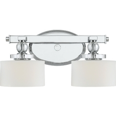 Modern Bathroom Light with White Glass in Polished Chrome Finish
