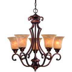 Five Light Old World Bronze Chandelier