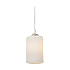Design Classics Lighting Contemporary Mini-Pendant Light with Opal White Cylinder Glass 582-09 GL1024C